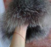 Кожанная шапка ушанка с мехом чернобурки