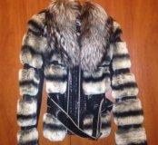 Кожаная куртка с мехом чернобурки и шиншиллы