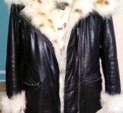 Куртка кожаная  с мехом.натуральная.