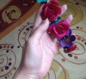 Ободок с цветами на резиночке