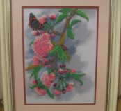 "Картина из чешского бисера ""Сакура с бабочкой""."