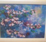 """Картина из чешского бисерая """"Цветущая вишня""""."""