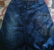 Необычная джинсовая юбка до кален.