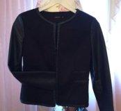 Пиджак с кожаными рукавами