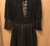 Красивое платье с кож.зам,почти новое