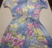 Платье новое голубое цветы