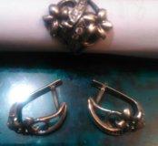 набор, колечко и серьги, серебро