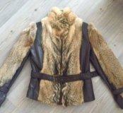 кожаная куртка с вставками из волка