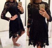 Новое кружевное чёрное платье