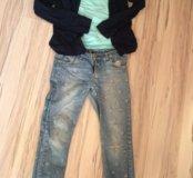 Майка, кофта и джинсы