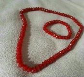 Бусы и браслет из красного шпинеля (лал)