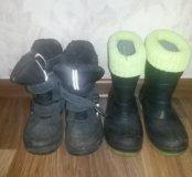 Резиновые сапоги и зимние ботинки