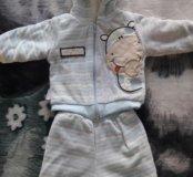 Детский теплый костюм  0-3 мес