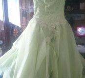 Платье детское нежно салатовое на рост 1.40-1.50