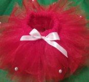 Красная блестящая юбка- пачка.новогодний костюм
