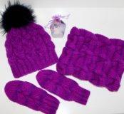 Комплект для девочек(шапка,варежки,снуд)