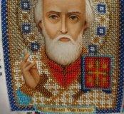 Икона вышитая бисером Николай чудотворец