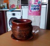 Керамический горшок с поддоном для цветов