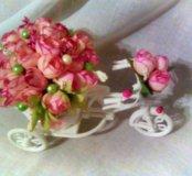 Интерьерный велосипед с букетом из 37 роз