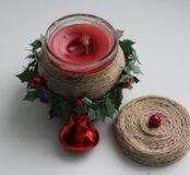 Новогодняя свеча ручной работы