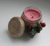 Новогодняя ароматная свеча ручной работы