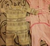 Теплые вещи на девочку от 3 до 8 месяцев пакетом