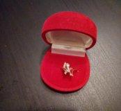Комплект : серьги и кольцо,золото 583 пробы