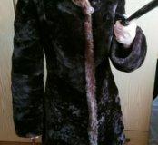 Шуба мутоновая 42-44размера коричневая с капюшоном