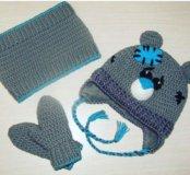 Зимний комплект Шапка+снуд+варежки на флисе