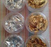 Золото и серебро для дизайна ногтей