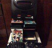Приставка SEGA Mega Drive и 13-15 картриджей
