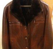 Тёплая кожаная мужская куртка