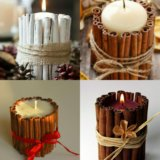 Свечи в декоре с корицей