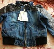 Новая куртка джинса с кожаными вставками .