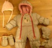 Зимний комбинезон для девочки от рождения до 6мес.