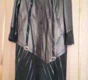 Кожаное новое пальто