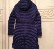 Зимнее синее пальто пуховик