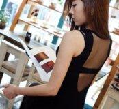 Новое черное платье с отделкой на спине