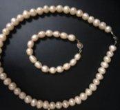 Натуральный жемчуг ожерелье и браслет