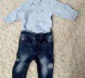 Рубашка-боди и джинсы