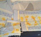 Бортики с балдахином и постельным бельем