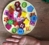Детская игрушка- деревянные часики