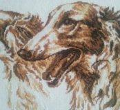 """Картина вышивка крестиком """"Собаки. Борзые""""."""