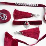 Чокер, ожерелье, серьги кисточки