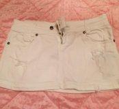 Юбка джинсовая с рваным эффектом xs