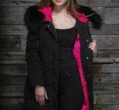Зимнее женское пуховое пальто, яркая подкладка
