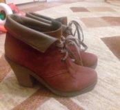 Ботинки кожанные теплые