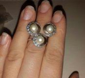 Серьги и кольцо жемчуг серебро