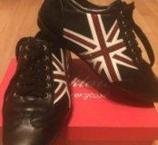 Черные кроссовки кеды кожа