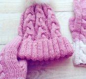 Вязаные шапка и перчатки